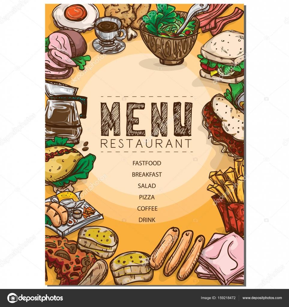 menú comida restaurante plantilla diseño mano dibujo gráfico ...