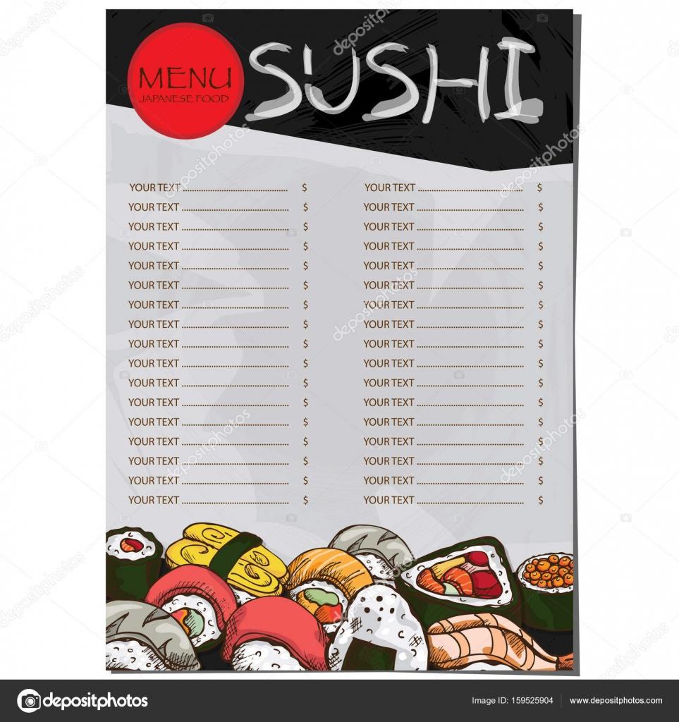 Menü japanisches Essen Restaurant Vorlage Design Handzeichnung ...