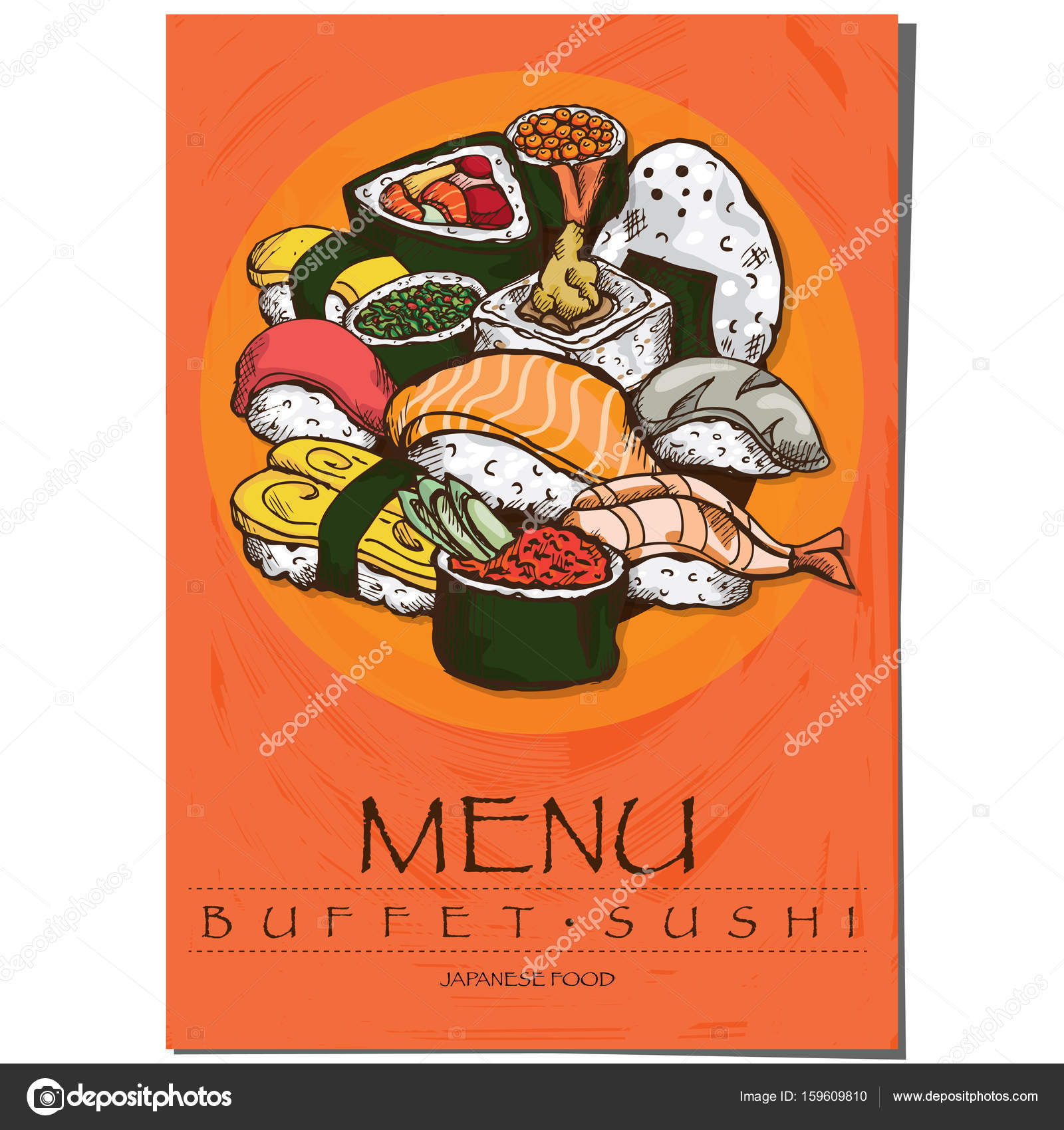 Menu Japanese Food Sushi Restaurant Template Design Hand Drawing Graphic Stock Vector C Foontntd 159609810