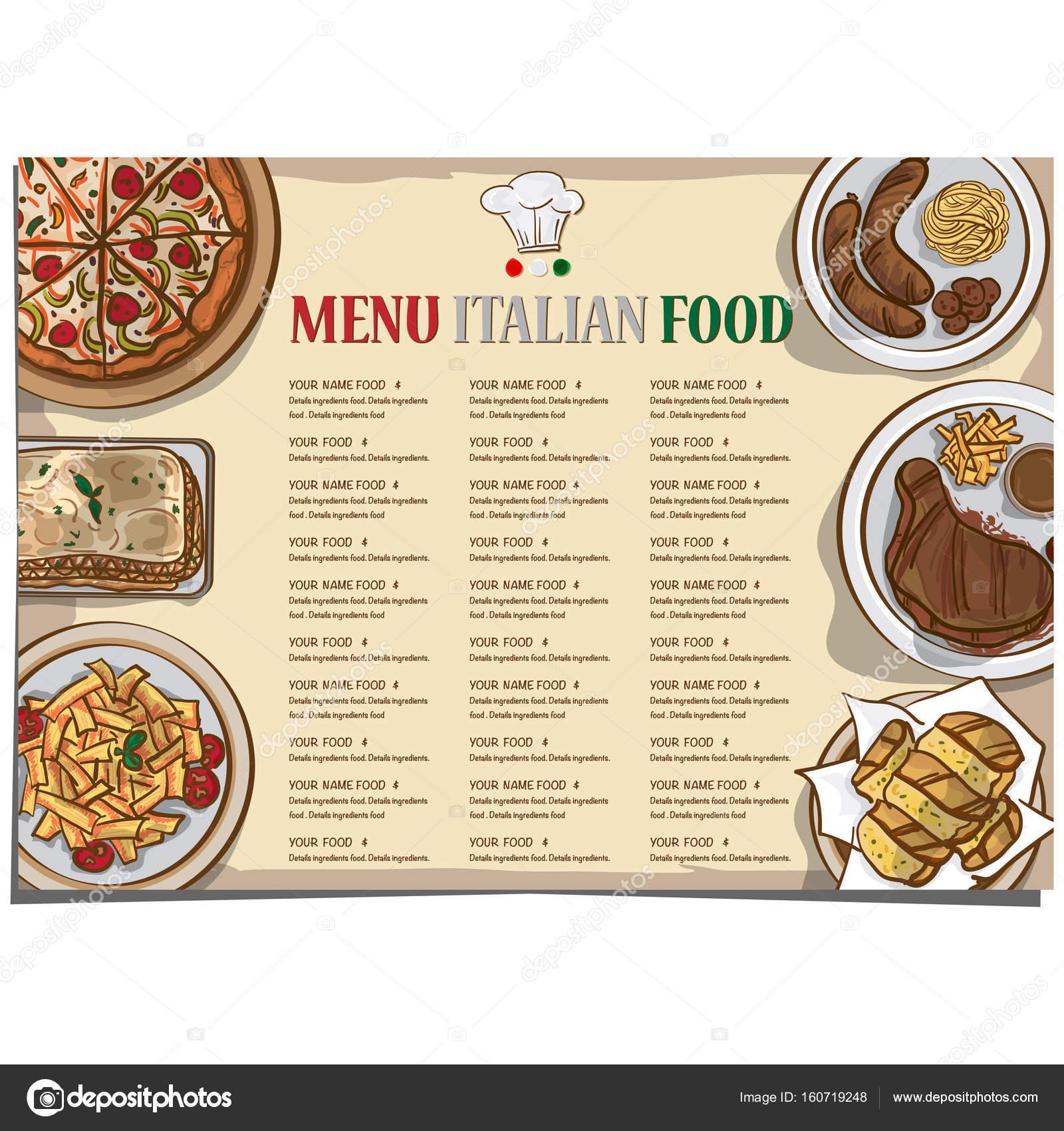 menú comida italiana restaurante plantilla diseño mano dibujo ...
