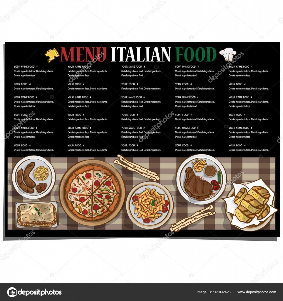 Menu Kuchni Włoskiej Restauracja Szablon Projekt Ręka