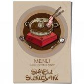 Nabídka sukiyaki shabu japonské jídlo restaurace šablony návrhu ruka kreslení grafiky