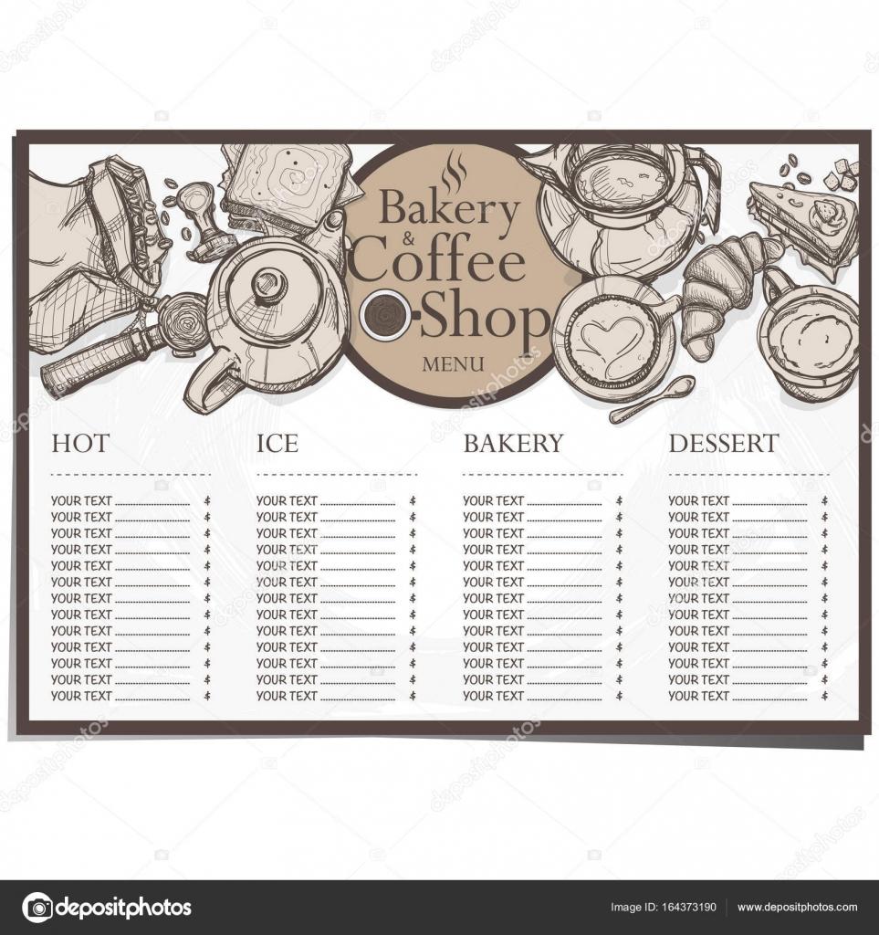 menú cafetería Café panadería restaurante plantilla diseño mano ...