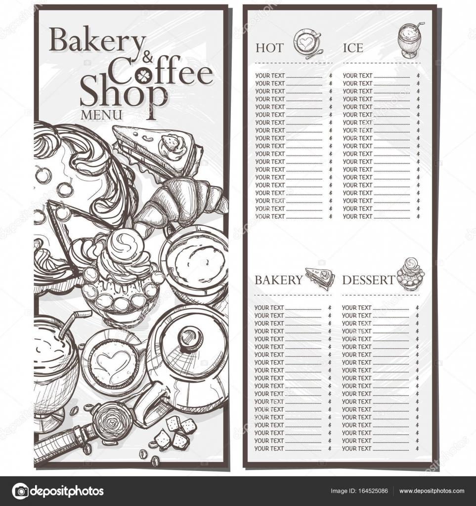 Speisekarte Café Kaffee Bäckerei Restaurant Vorlage Design ...