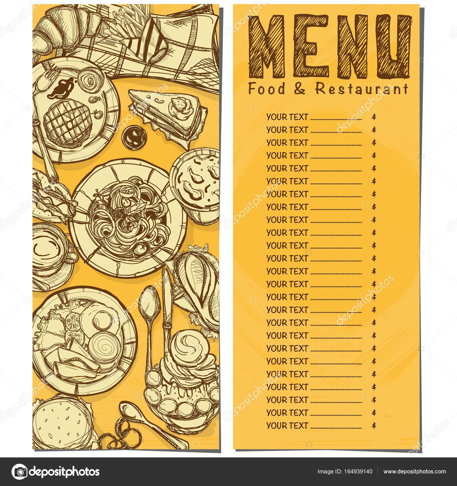 menú comida rápida restaurante plantilla diseño mano dibujo gráfico ...