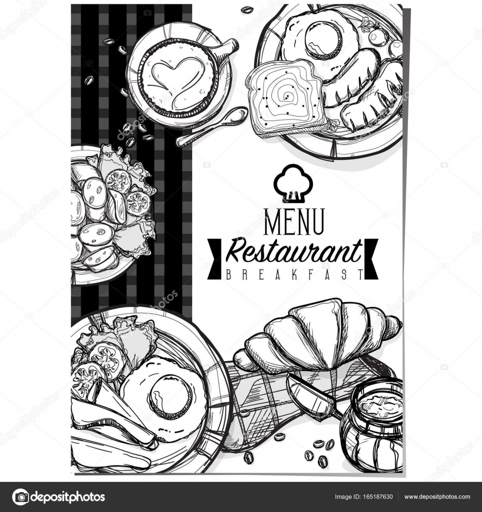 Menu Petit Dejeuner Nourriture Restaurant Modele Design Main Dessin