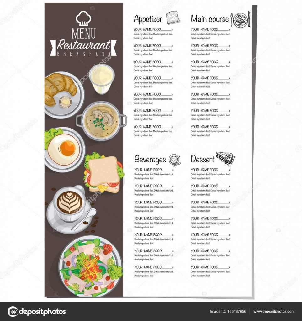 Speisekarte Frühstück Essen Restaurant Vorlage Design Handzeichnung ...