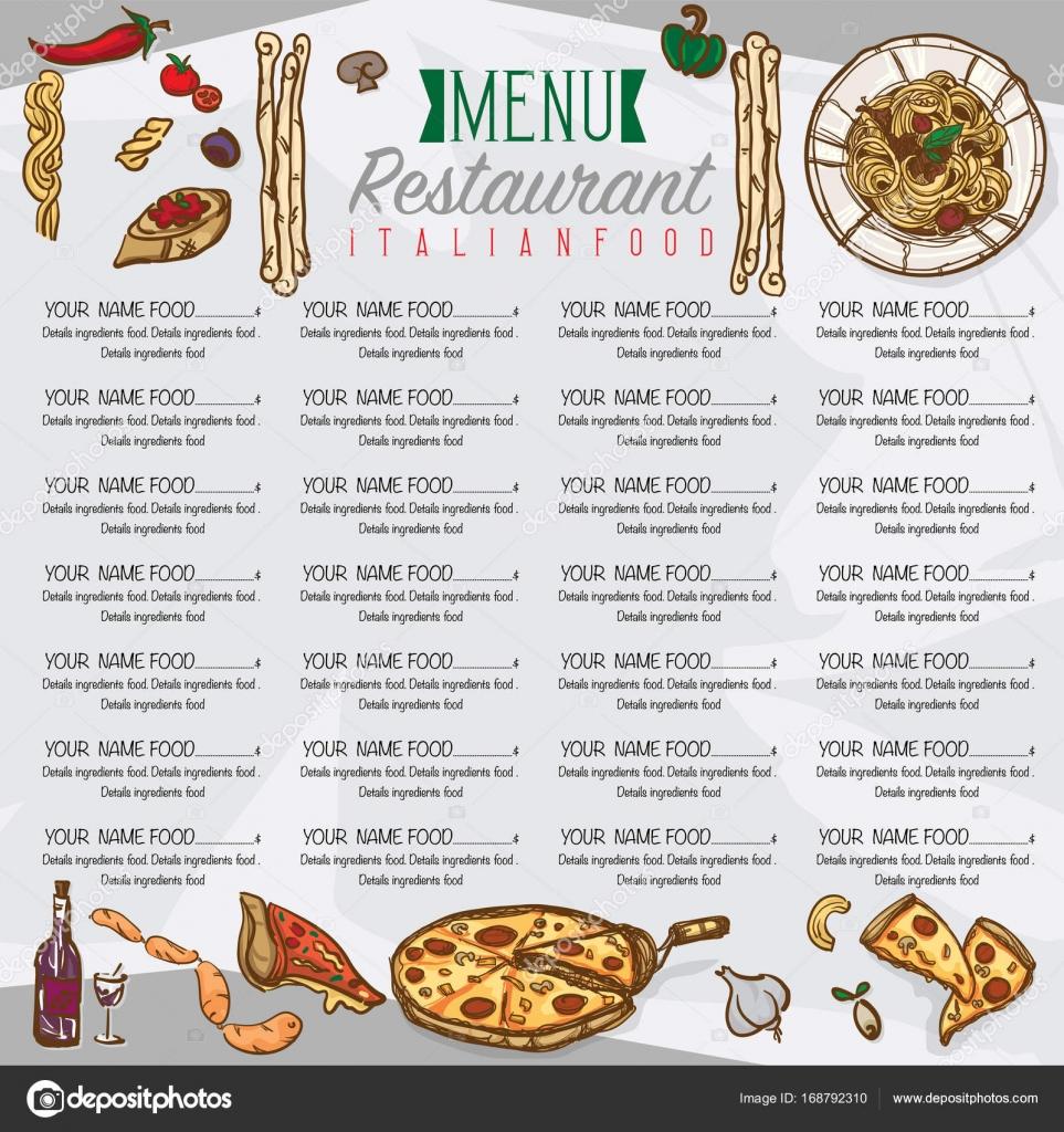 Menu Italian Food Template Design Hand Drawing Graphic Stock