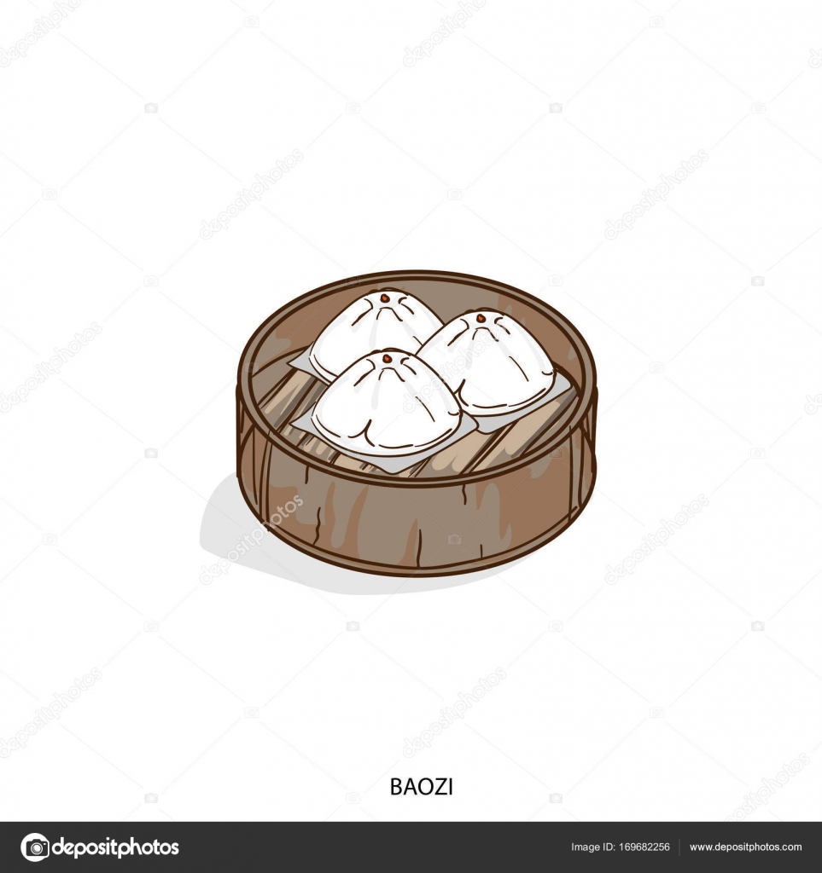 Jidlo Objektu Baozi Rucni Kresba Stock Vektor C Foontntd 169682256