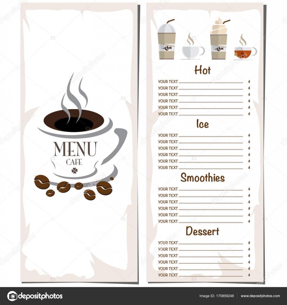 Speisekarte Café Restaurant Vorlage Design Handzeichnung Grafik ...