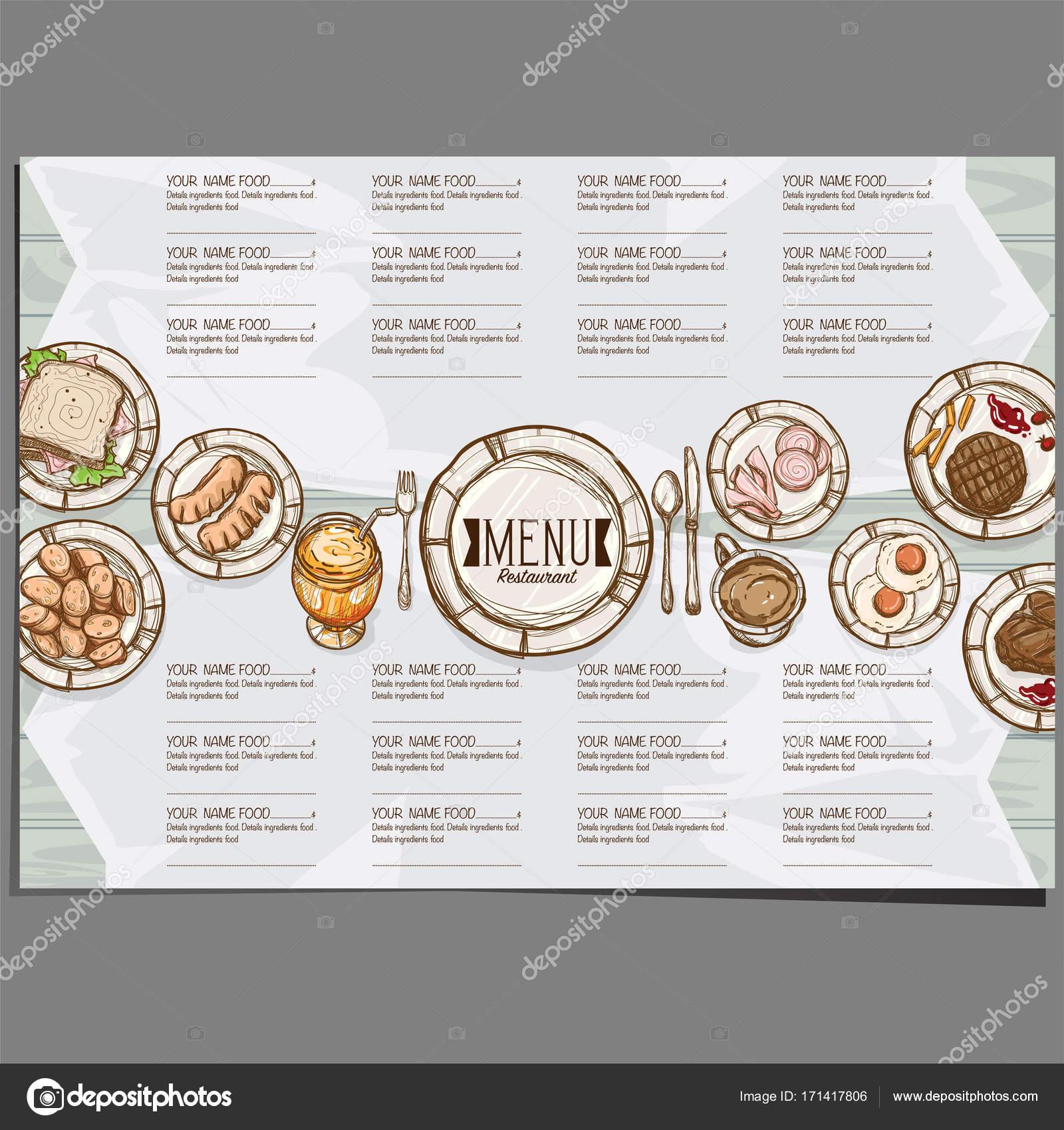 Menü Essen Restaurant Vorlage Design Handzeichnung Grafik ...