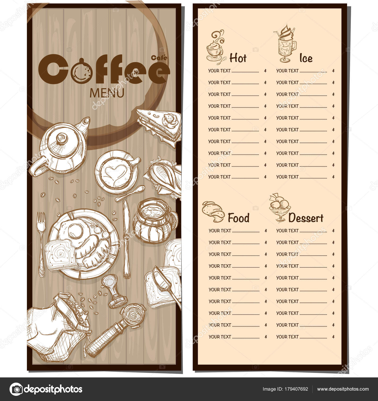 menu coffee shop cafe restaurant template design hand drawing