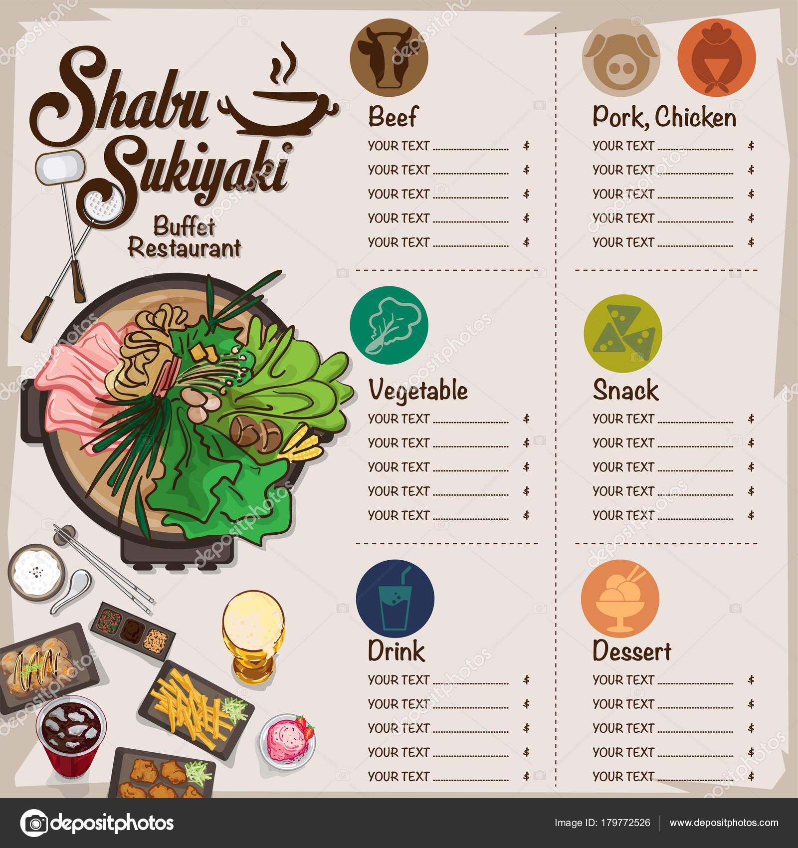 Shabu Sukiyaki Restaurante Plantilla Diseño Gráfico Objetos Menú ...