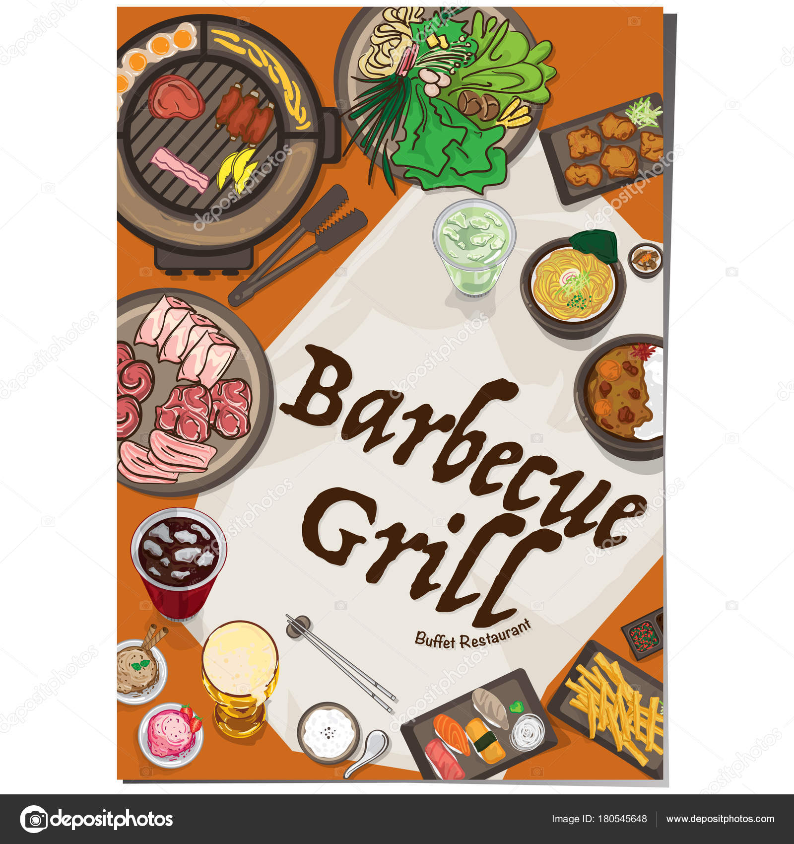 Menu Barbecue Grill Restaurant Template Design Graphic