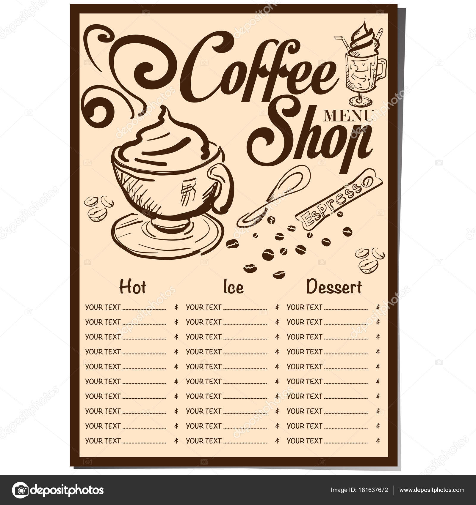 Menu Coffee Shop Cafe Restaurant Template Design Hand Drawing Graphic Stock Vector C Foontntd 181637672