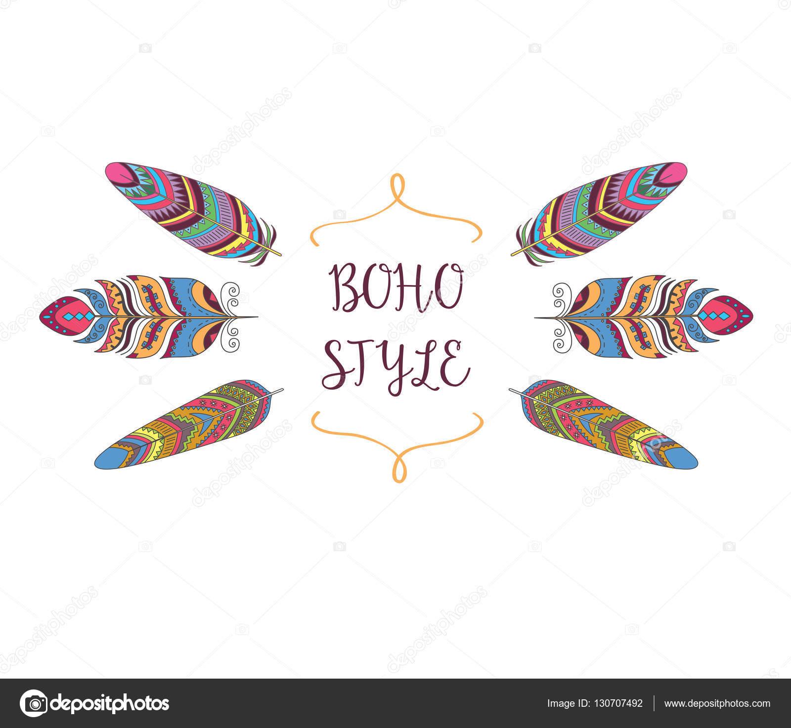 Marco de estilo boho. Frontera con plumas de aves decorativas ...