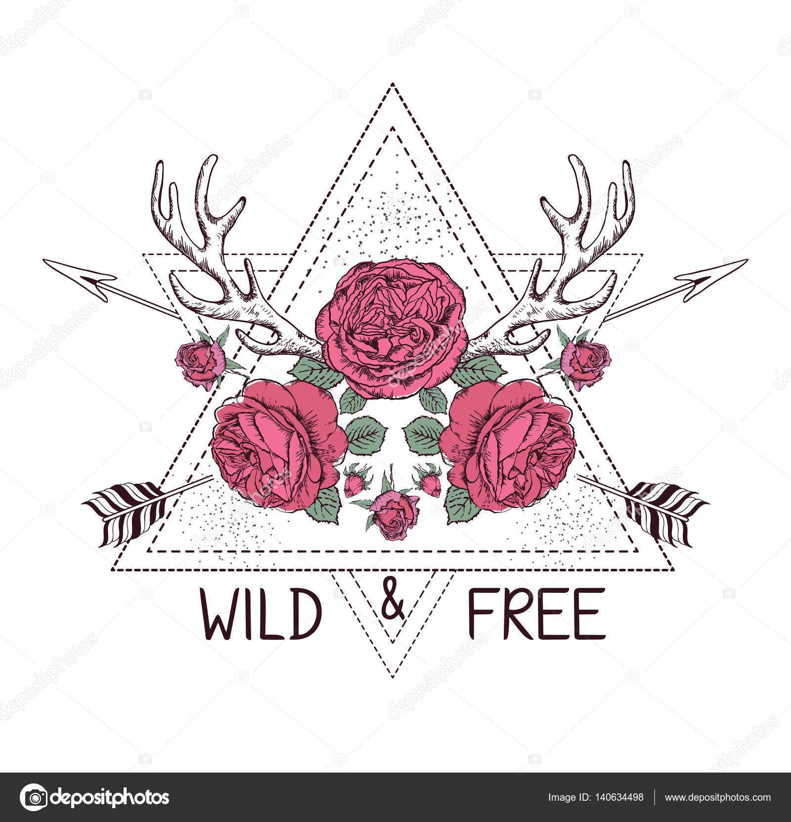 Hand Drawn Boho Style Design With Rose Flower Arrow And Deer Antlers Stock
