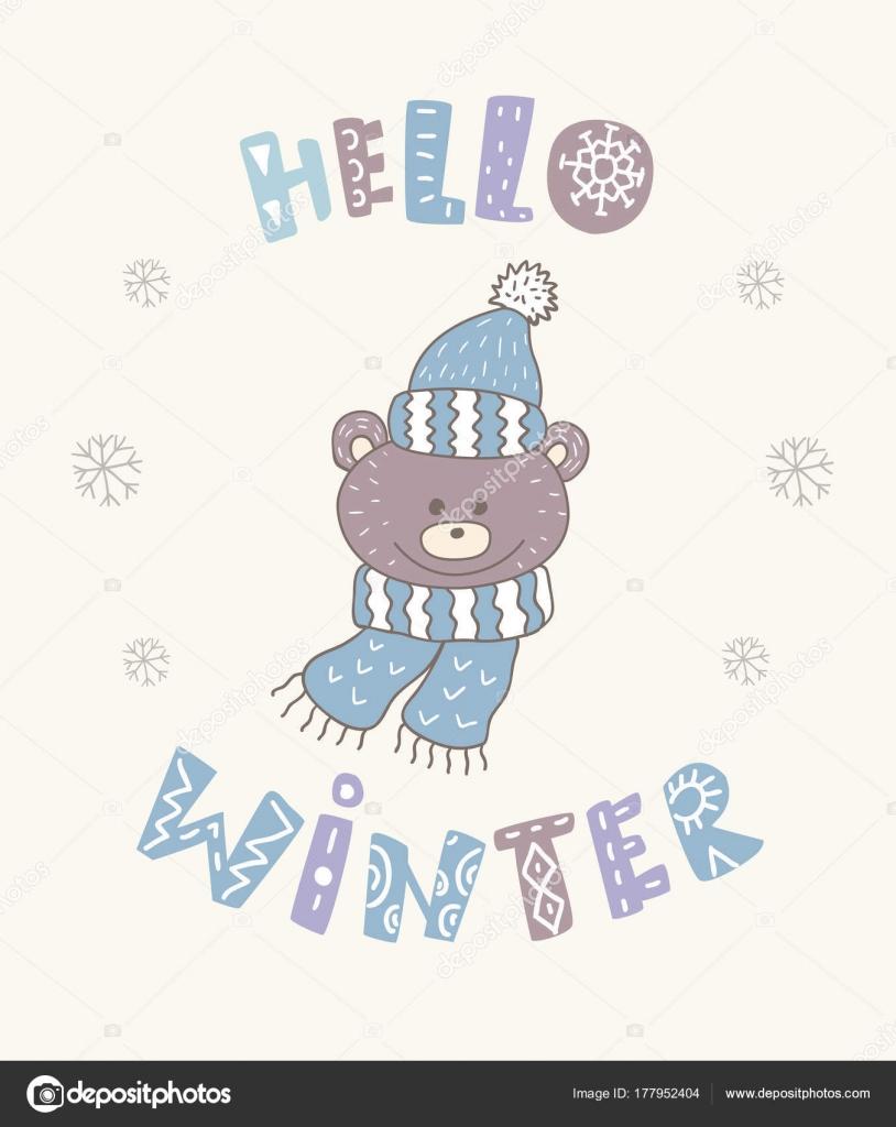 Winter Postkarte Mit Zitate Und Sprüche Lustiger Bär