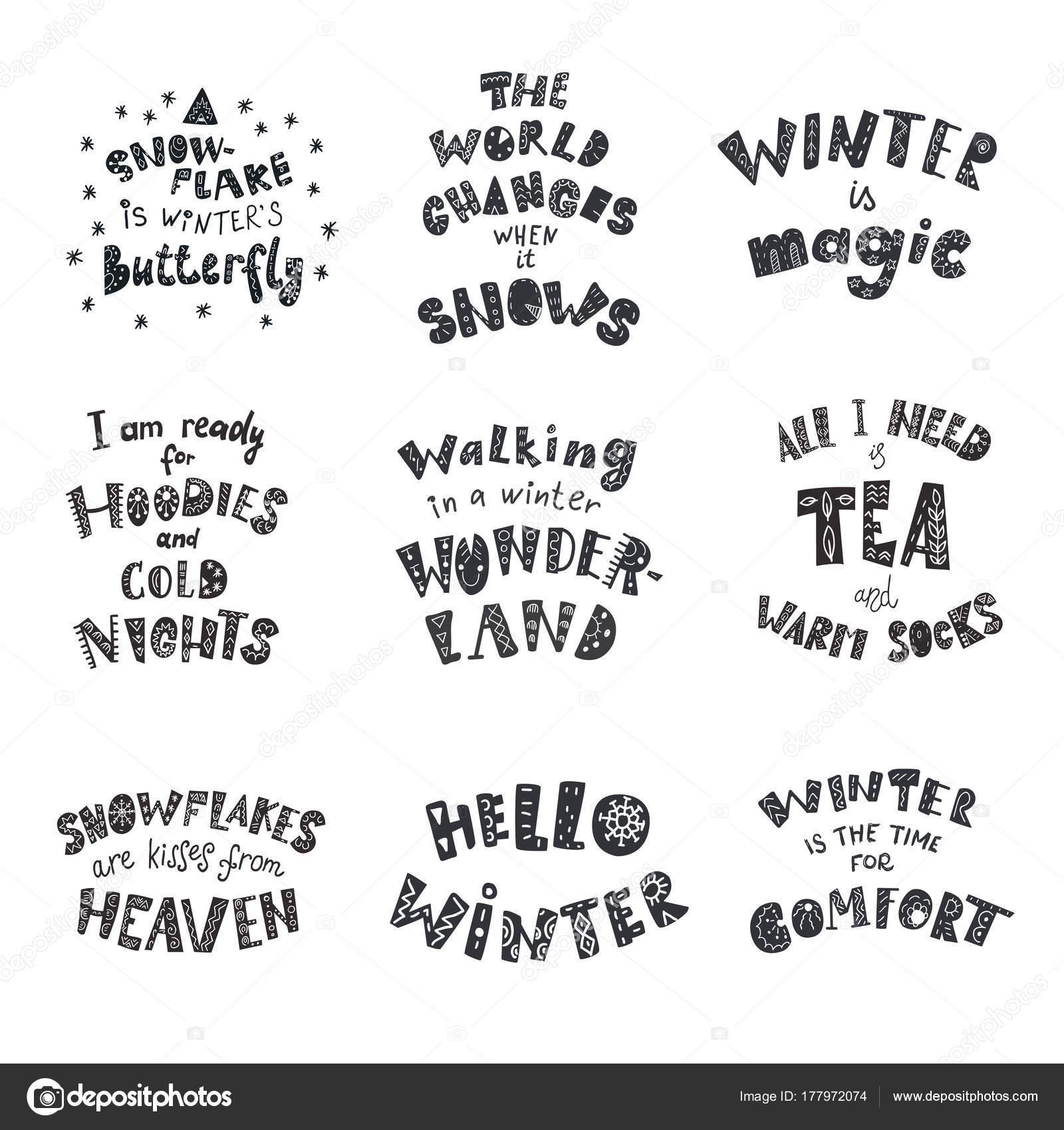 sprüche winter Satz von Winter Zitate und Sprüche. Schriftzug mit dekorativen  sprüche winter