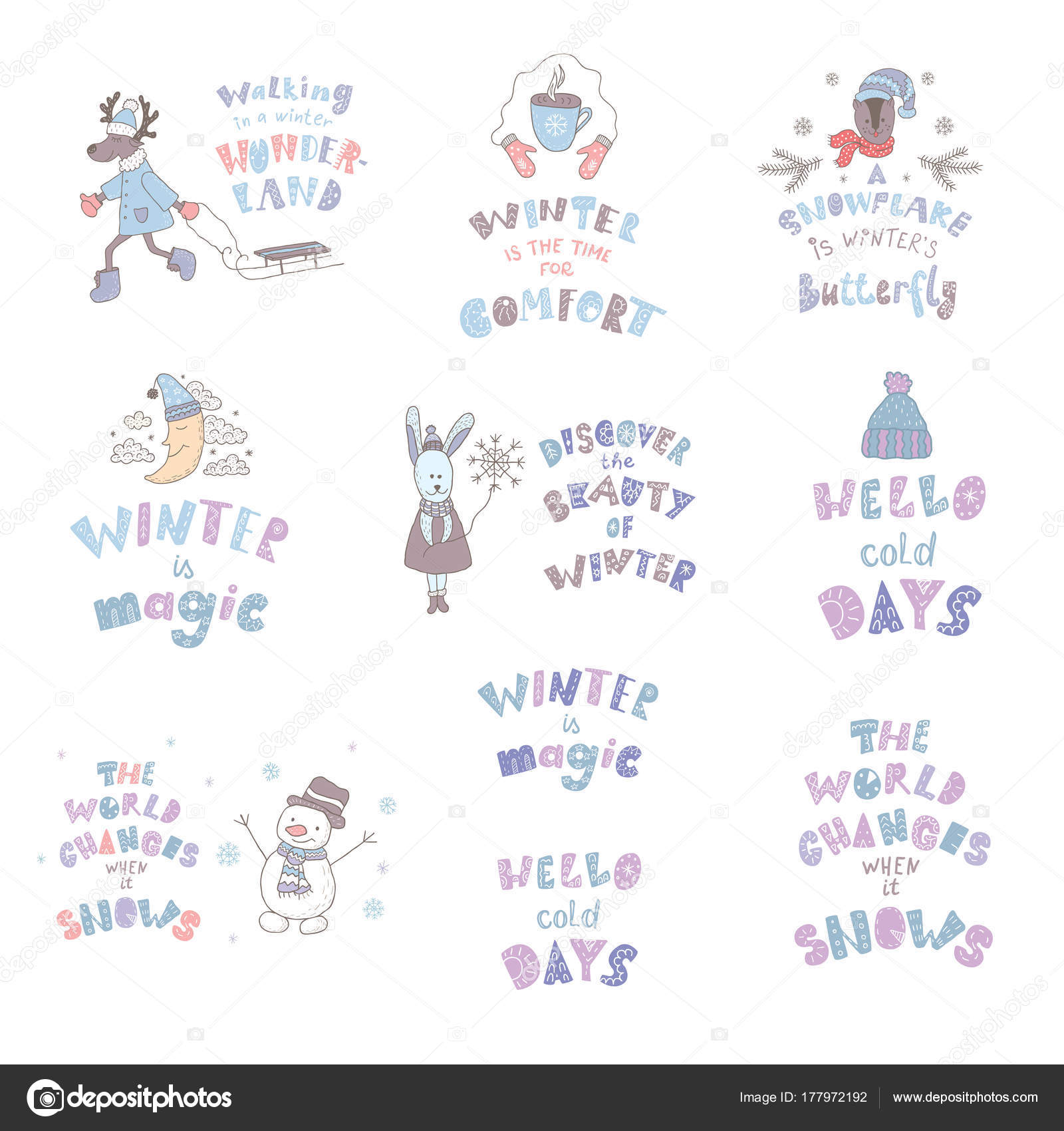 Satz Von Niedlichen Tieren Und Winter Angebote Kindergarten Kunst