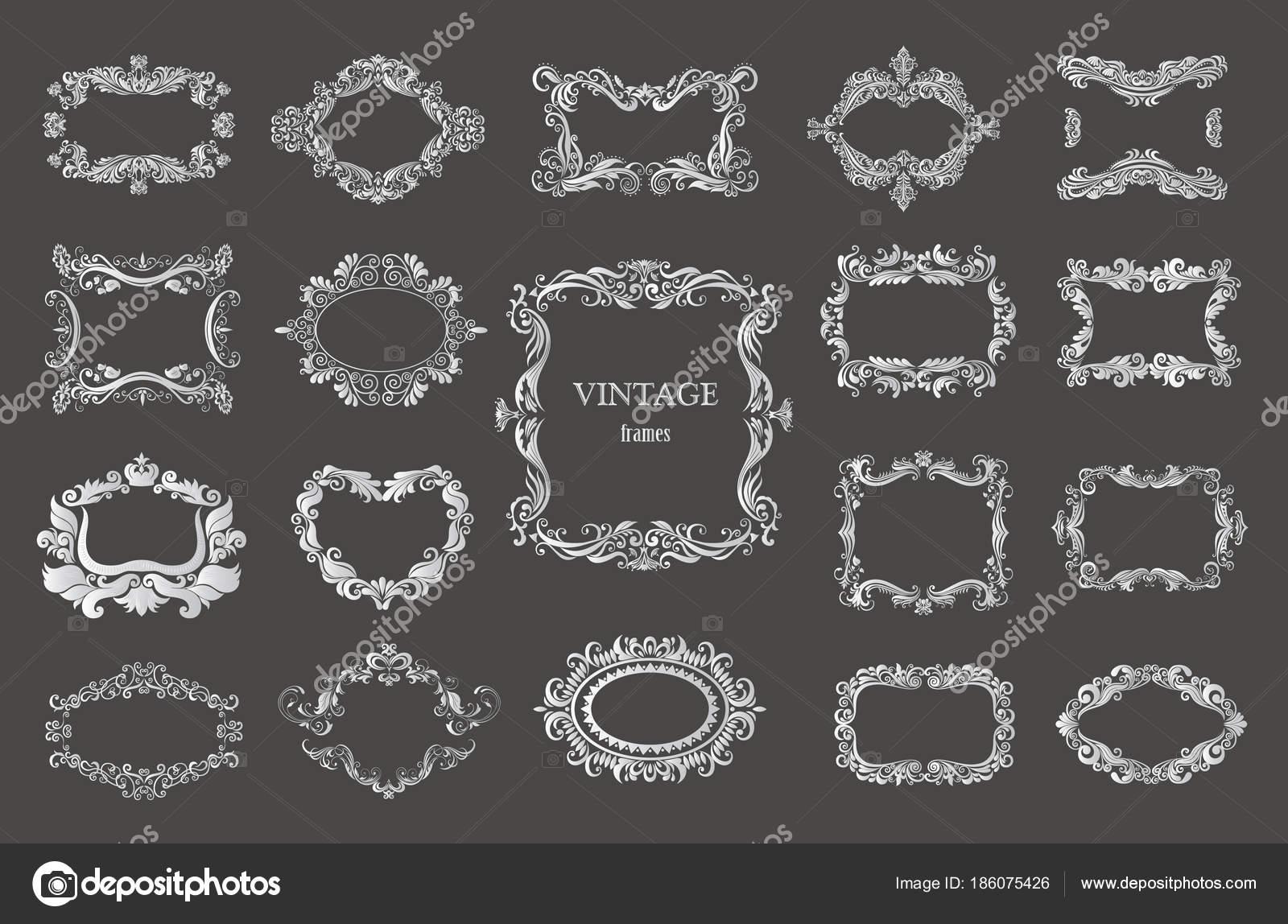 Satz von Silber Vintage floral-Rahmen und Monogramme — Stockvektor ...