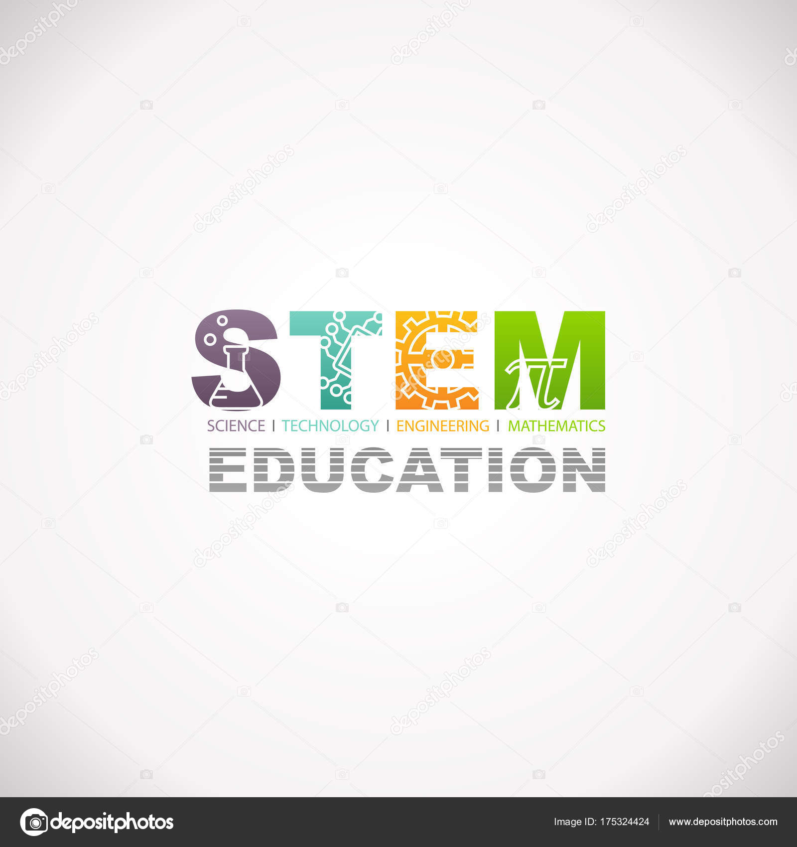 Stem Education Concept Logo Science Technology Engineering Mathematics Vector Image By C Arrow123 Vector Stock 175324424
