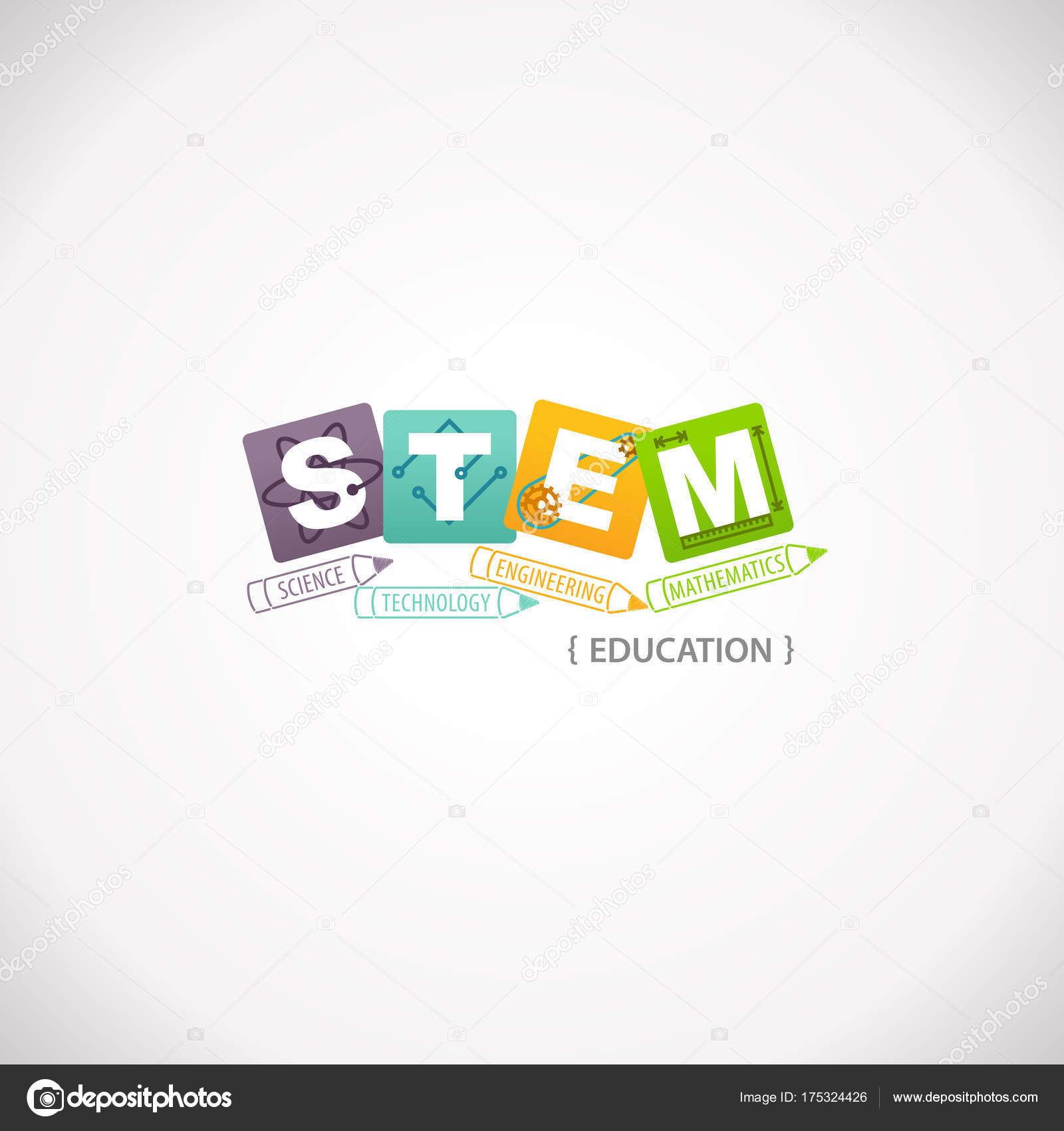 Stem Education Concept Logo Science Technology Engineering Mathematics Vector Image By C Arrow123 Vector Stock 175324426