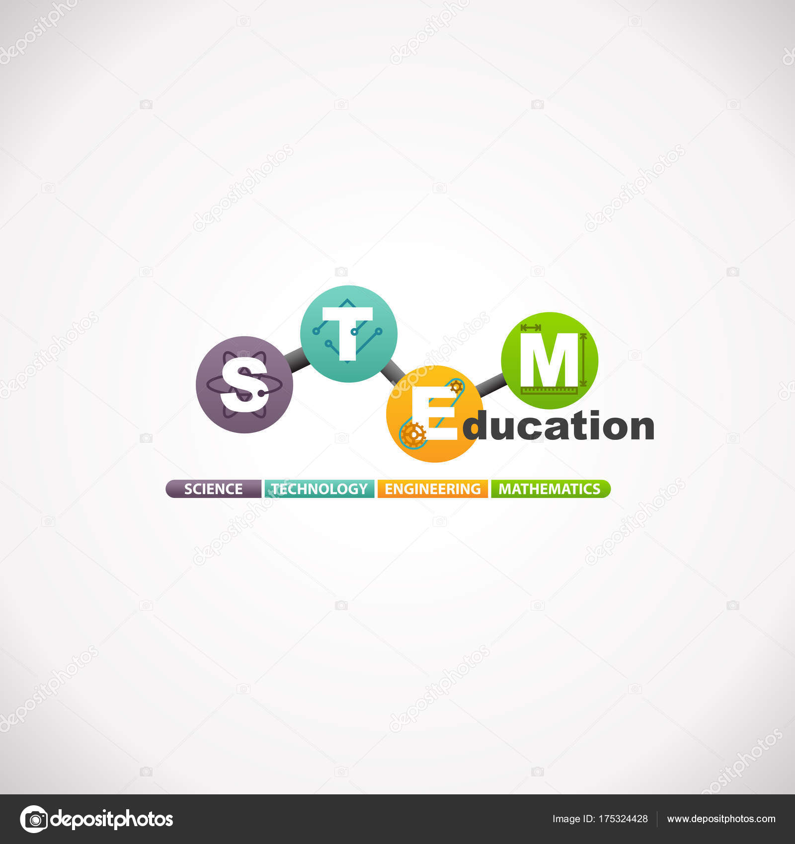 Stem Education Concept Logo Science Technology Engineering Mathematics Stock Vector C Arrow123 175324428