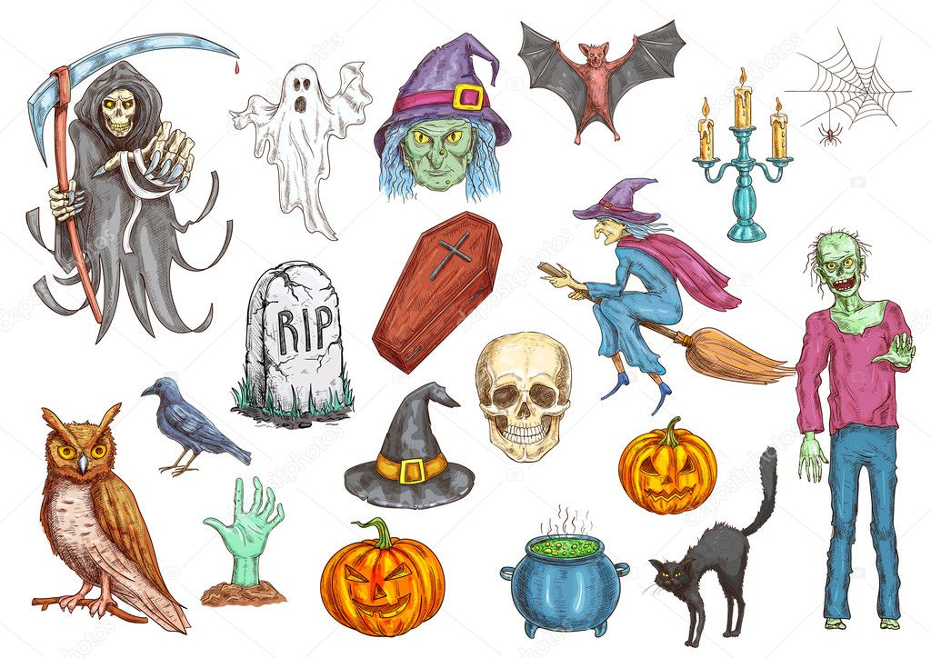 Halloween Color Sketch Icons And Elements Stock Vector