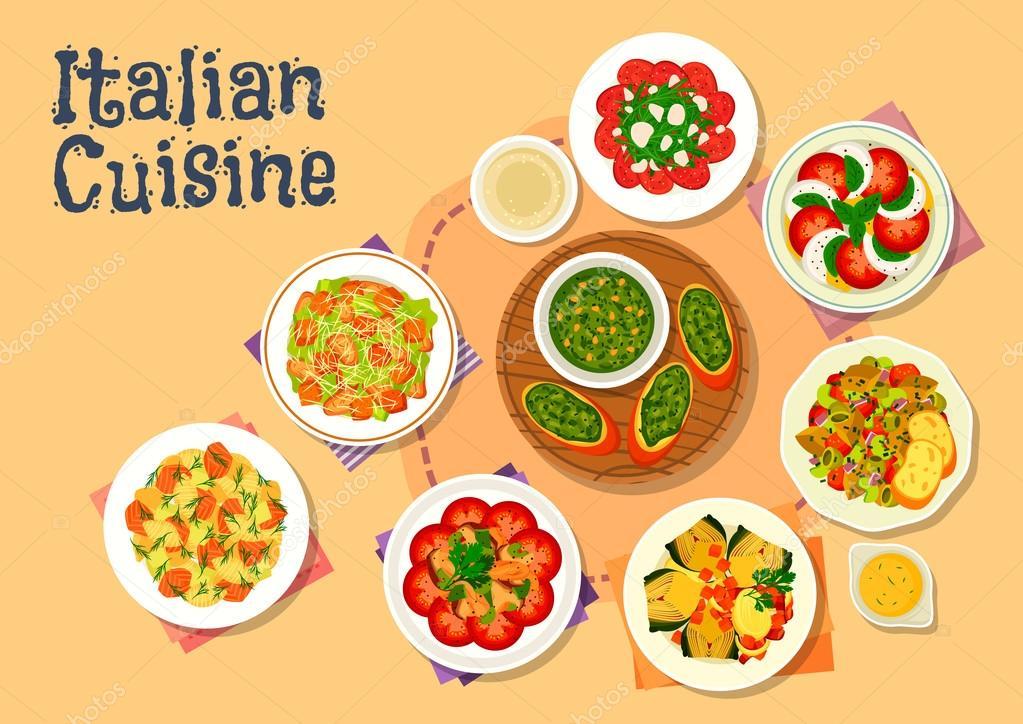 Küche gesunde Gerichte für Abendessen-Symbol — Stockvektor #125689164 | {Italienische küche 33}