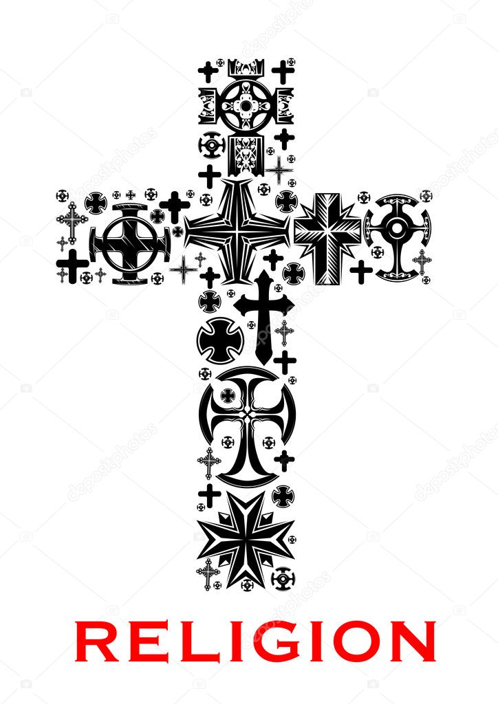 Cross With Christian And Celt Religious Symbols Stock Vector