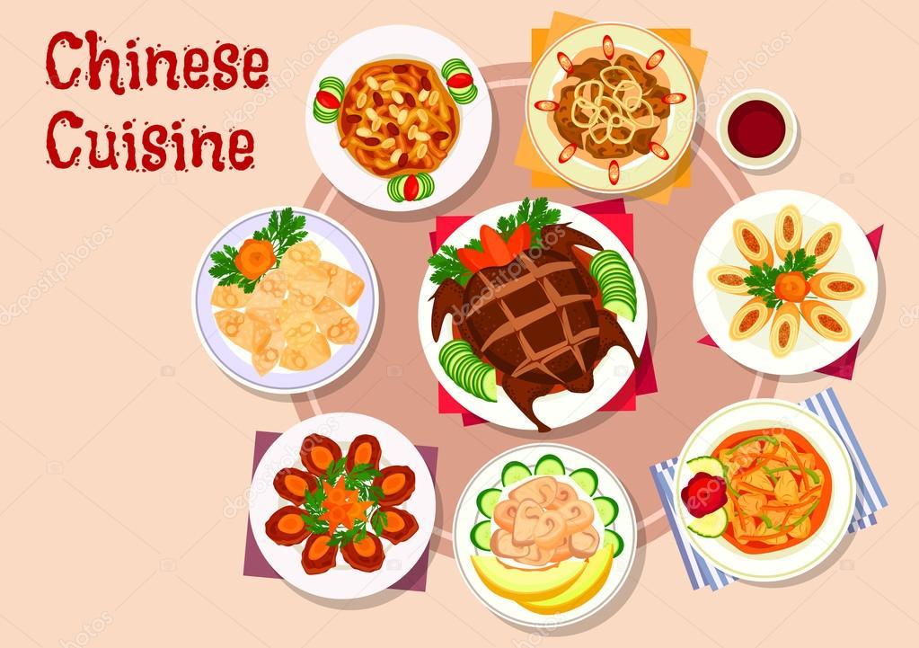 Chinesische Küche Fleisch Gerichte Symbol für Menü-design ...