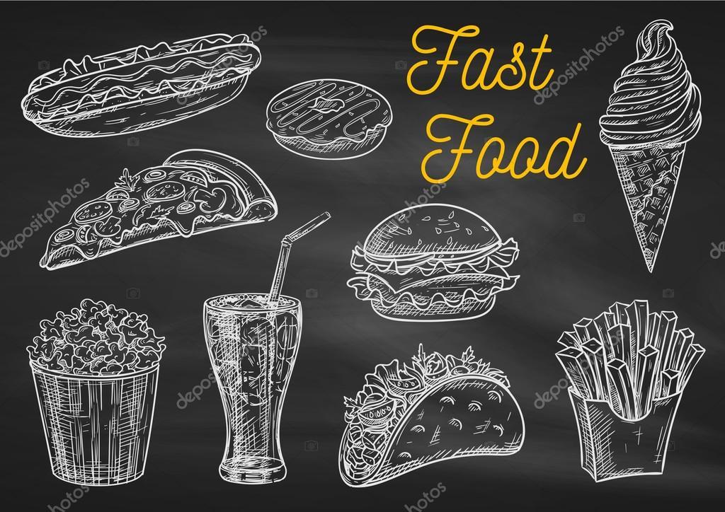 Bebidas E Lanches De Fast Food 237 Cones De Desenho De Giz