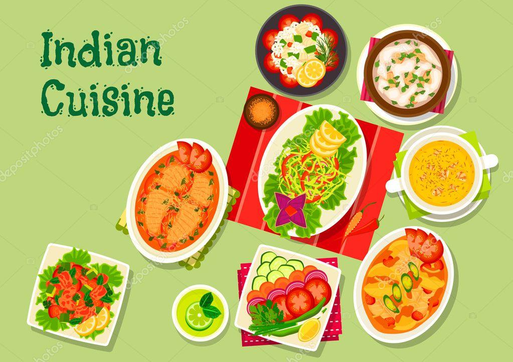 Icono de platos cocina India almuerzo menú diseño — Archivo Imágenes ...