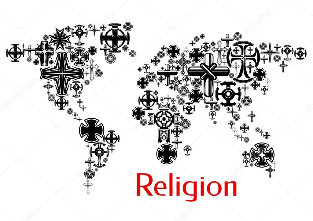 Religion world map with christianity cross symbols — Stock Vector ...
