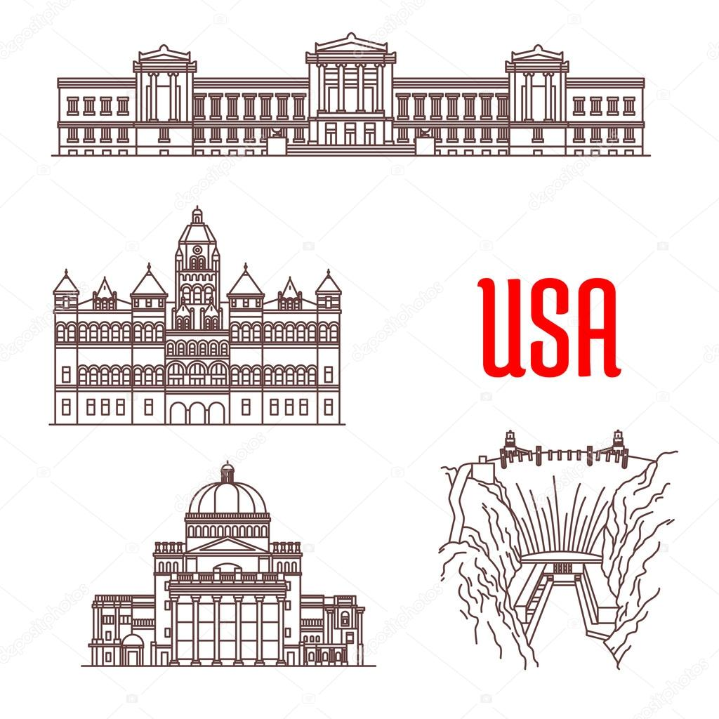 American Landmarks And Sightseeings Icons  Stock Vector - Famous art museums in usa