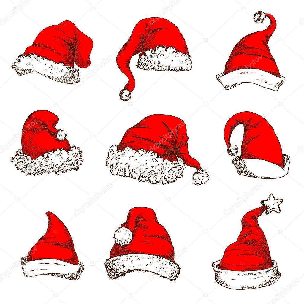 Gorro de Navidad rojo y gorro de Papá Noel y elfo con POM-POM trim 93683520abe