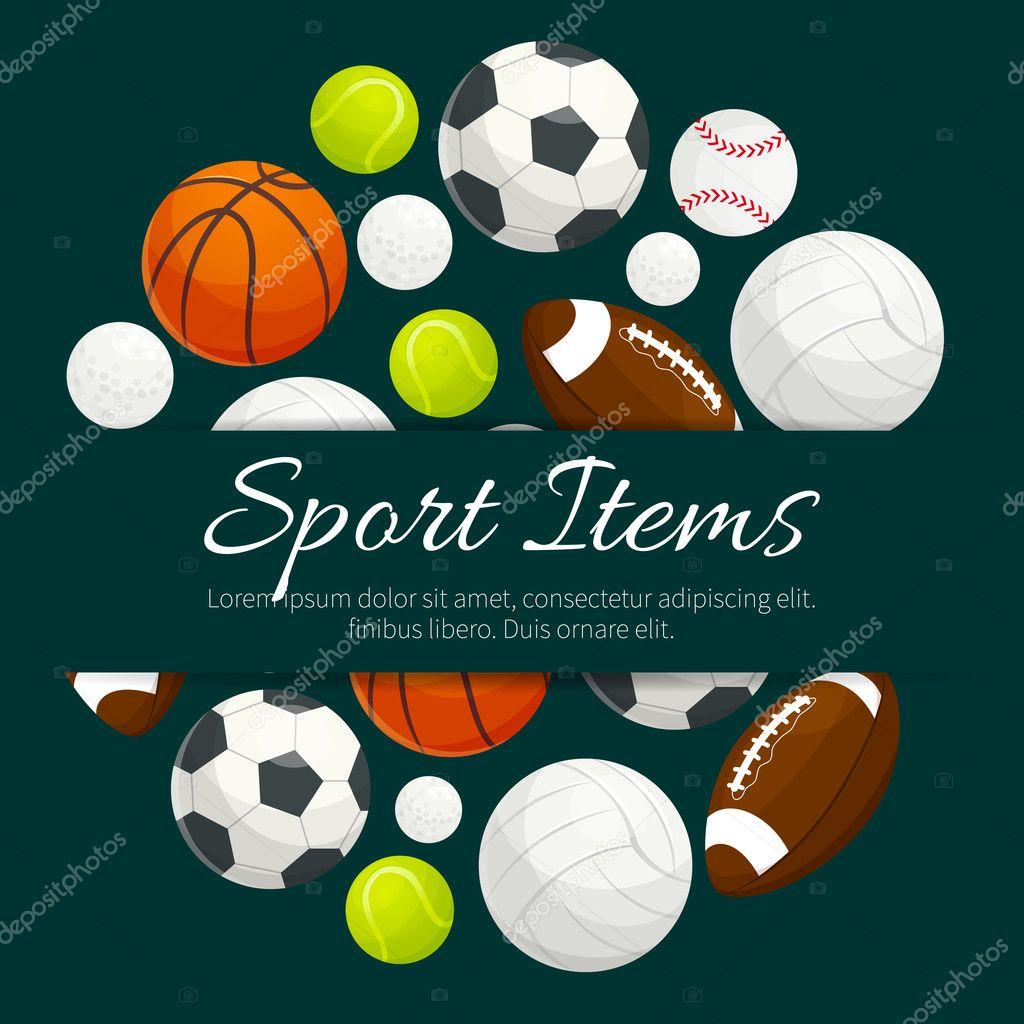 4771af035edc Векторные элементы командной игры спортивные мячи для регби, футбол, футбол,  бейсбол, баскетбол, теннис, волейбол, гольф. Картинки спортивные товары ...