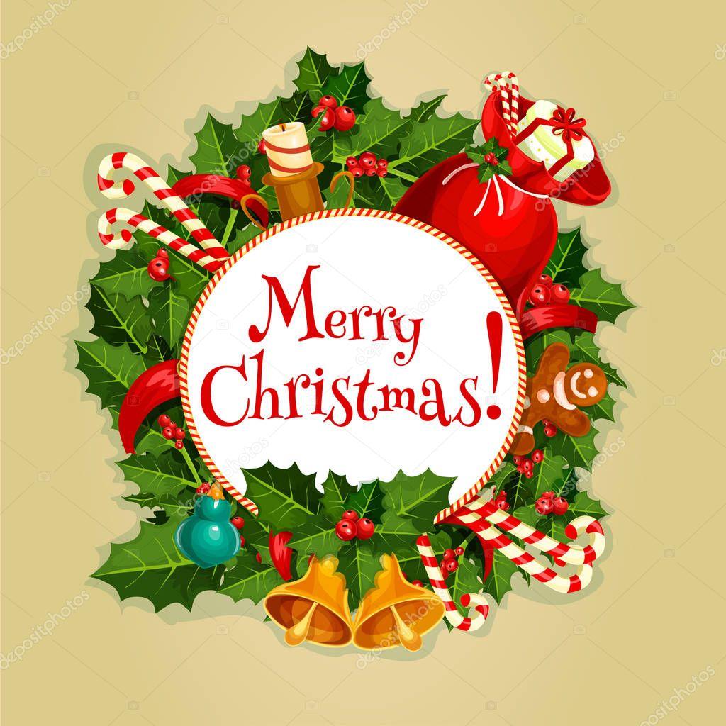 bc6e169b83649 Feliz Navidad redonda cartel con decoración de Navidad — Archivo ...