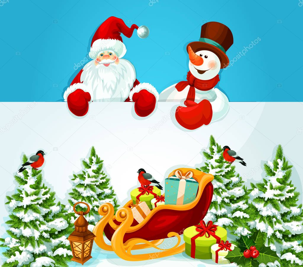 christmas card with santa claus snowman and gift stock vector - Santa Claus Christmas Cards