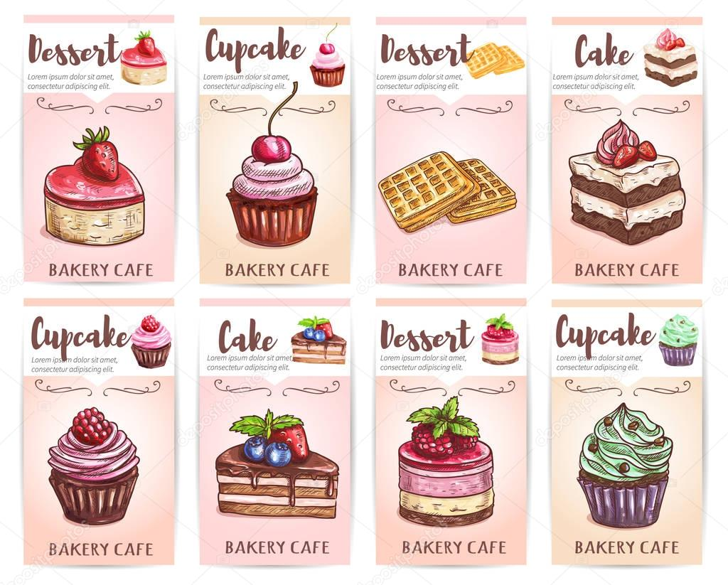 Cafe Desserts Menu Sketched Cupcakes Cakes Tags Stock