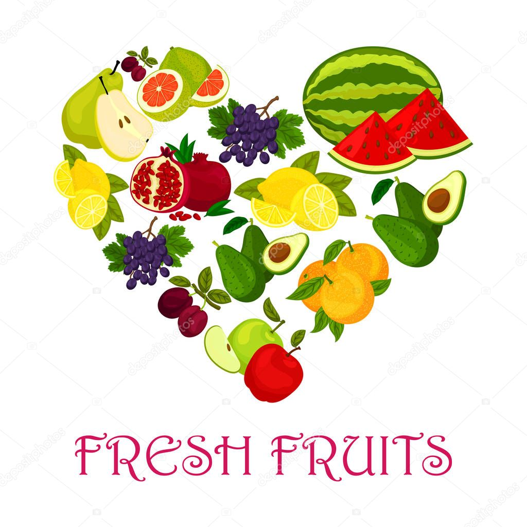 Fresh Fruits Symbol In Shape Of Heart Icon Stock Vector
