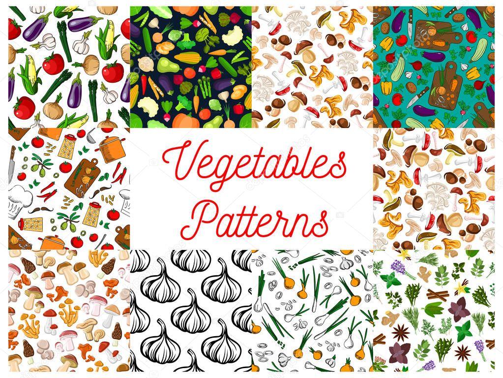 Hortalizas, hierbas, setas sin costuras patrones conjunto — Vector ...