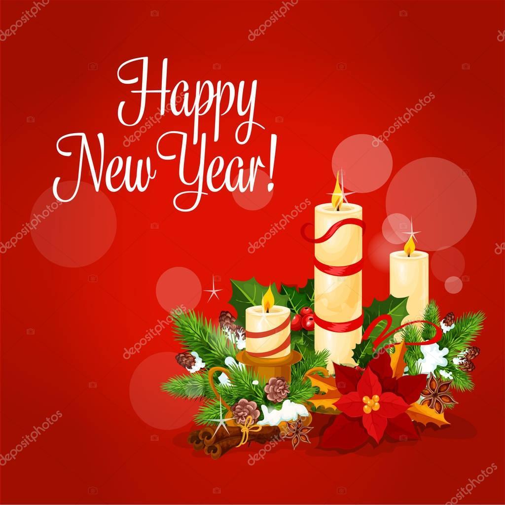 Neujahr und Weihnachten Karte mit Kerze, Holly, Kiefer — Stockvektor ...
