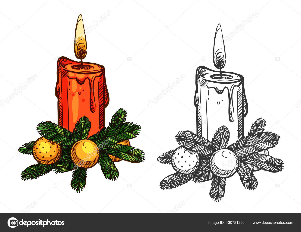 kiefer baum weihnachtsschleife kerze isoliert skizze. Black Bedroom Furniture Sets. Home Design Ideas