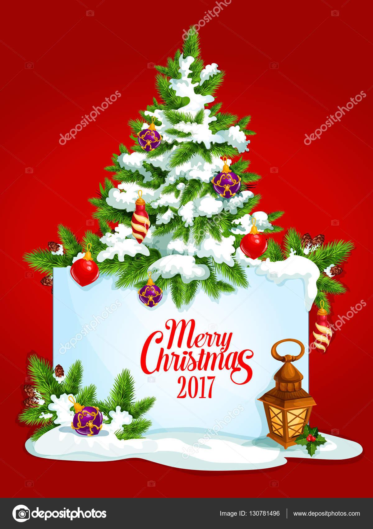 Merry Christmas Tree Vektor Plakat, Grußkarte — Stockvektor ...