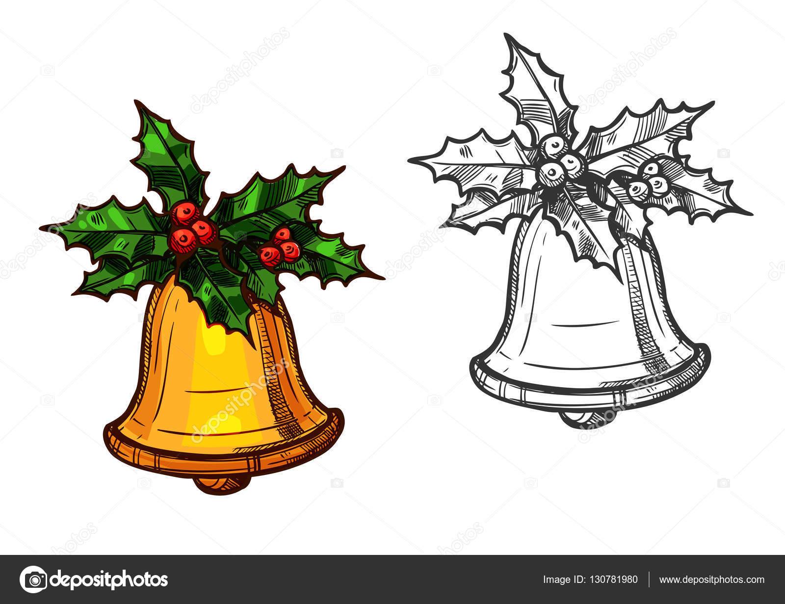 sino de natal com o ícone de desenho isolado de azevinho vetor de