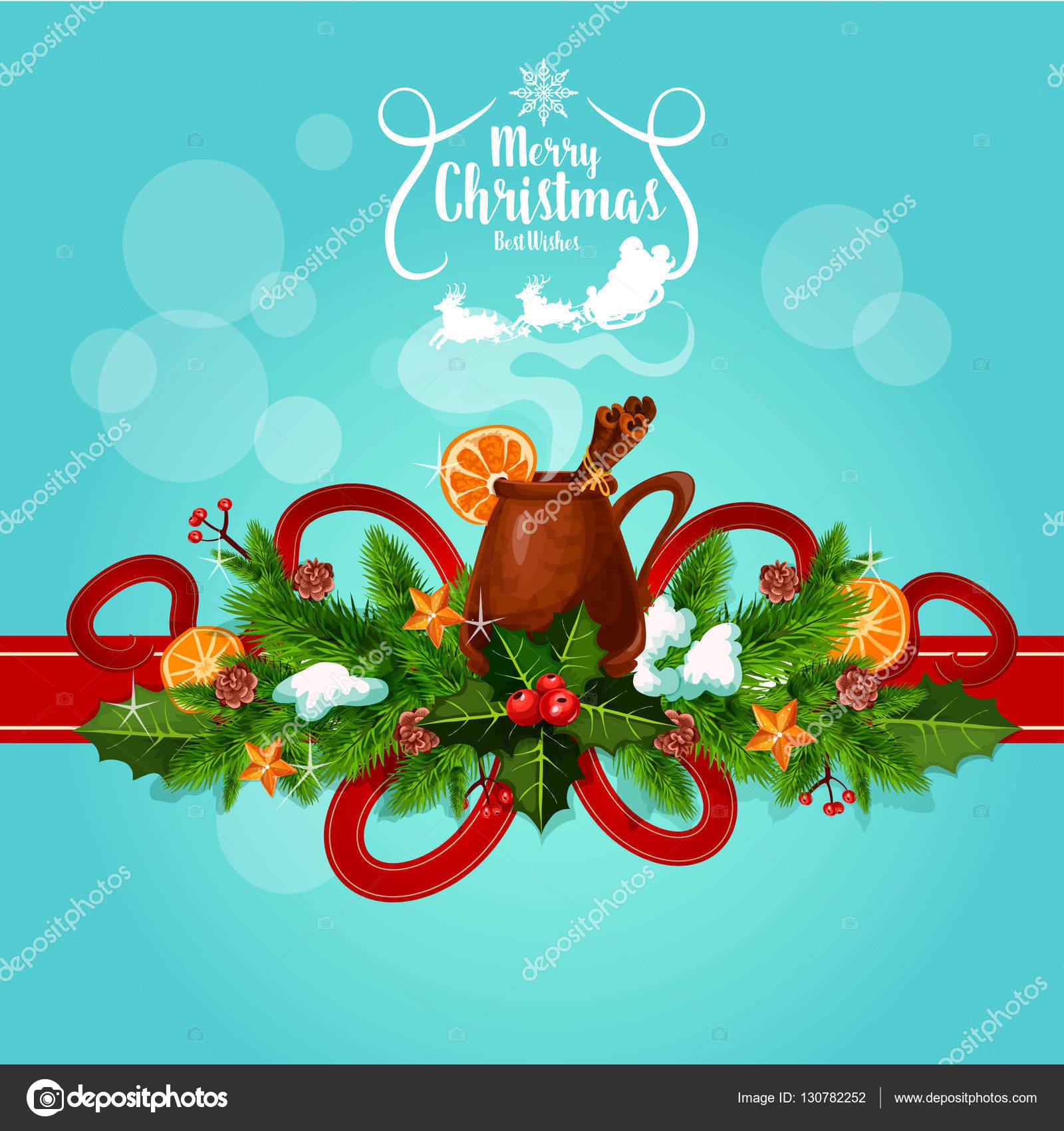 I Migliori Auguri Di Buon Natale.Auguri Di Buon Natale Vin Brule Vino Saluto Vettoriali Stock