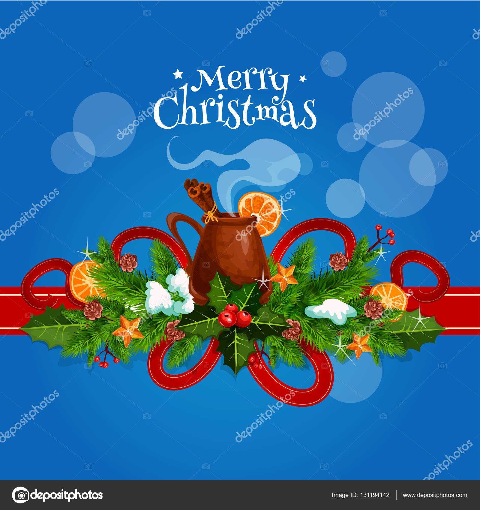 Merry Christmas Card With Mulled Wine Stock Vector Seamartini