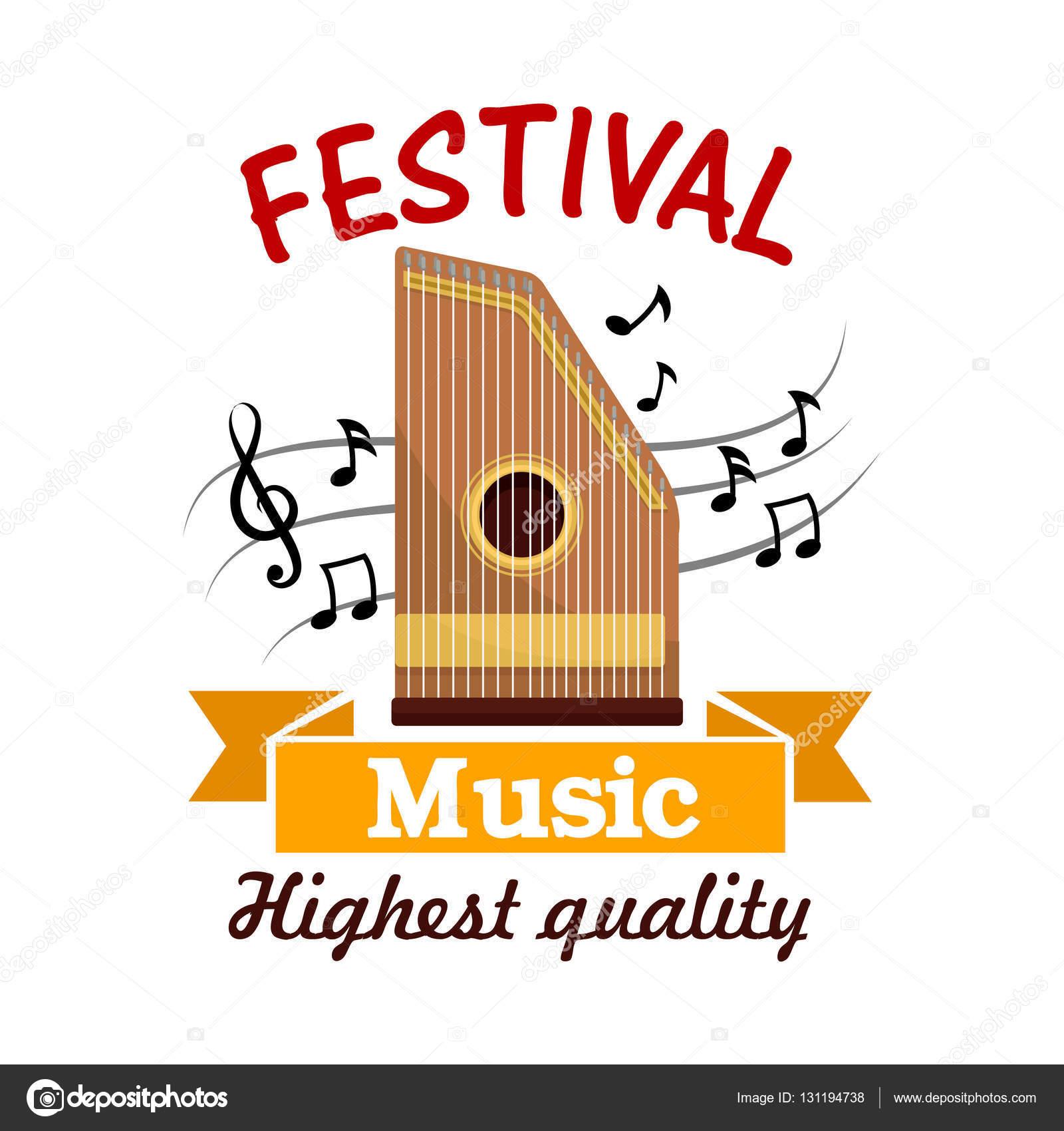 Sinal De Música Do Instrumento Musical Popular Com Notas Vetor De